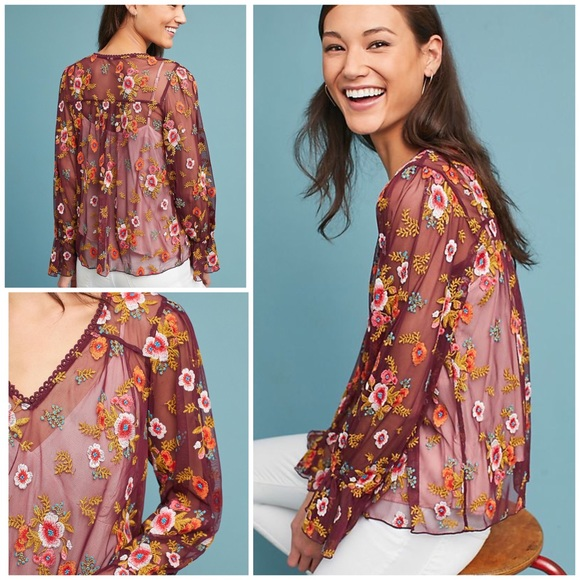 Anthropologie Tops - Feather Bone Embroidered Ruffled Giralda Blouse L
